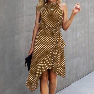 Boho Polka Dot Belted Ruffle Mini Dress Brown